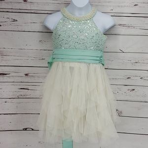 Rare Editions Beaded Tulle Dress